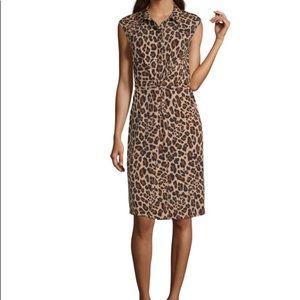 NWT Worthington Shirt Dress W/ Leopard Print